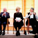 The President of Ireland, Michael D. Higgins with writer Edna O'Brien and visual artist Imogen Stuart.