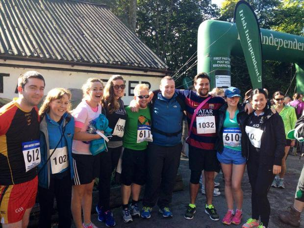 L-R - Cormac Byrne, Ger Gittens, Denise Calnan, Trich Murphy, Jason Kennedy, Frank Whelan, Mark McConville, Louise Kelly and Rebecca McConnell prior to the start of the 2015 Sheep's Head Challenge