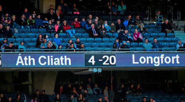 The scoreboard shows Dublin's landslide victory over Longford in this year's Leinster SF championship