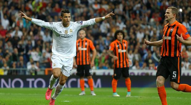 Real Madrid's Cristiano Ronaldo scored a hat-trick against Shakhtar Donetsk at the Santiago Bernabeu stadium in Madrid
