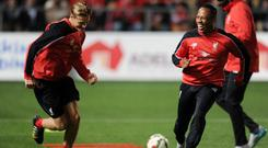 Daniel Cleary and Nathaniel Clyne of Liverpool during a training session