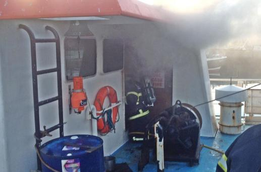 Fire on Howth trawler (Photo: Dublin Fire Brigade)