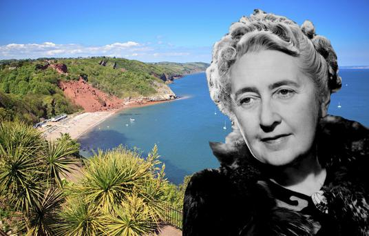 Composite image of Agatha Christie (PA) and Babbacombe beach, Torquay. Photo: PA Photo/thinkstockphotos.