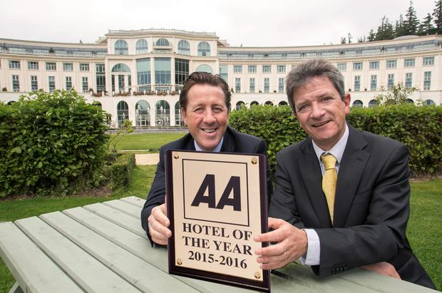 David Webster (left) General Manager, Powerscourt Hotel, pictured with AA Director of Consumer Affairs Conor Faughnan. Powerscourt Hotel is the AA Hotel of the Year for 2015/16 Photo: Mac Innes Photography