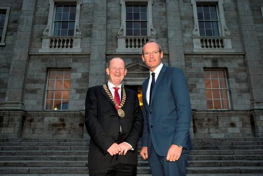 President of the Institute of Certified Public Accountants, Brian Purcell with Minister Simon Coveney at the CPA President's Annual Dinner at Trinity College, Dublin. Picture:Arthur Carron