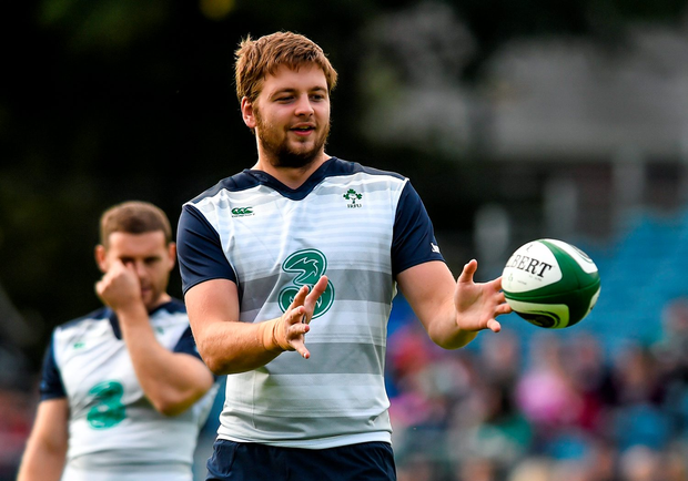 8 September 2015; Ireland's Iain Henderson during squad training. RDS, Ballsbridge, Dublin. Picture credit: Ramsey Cardy / SPORTSFILE