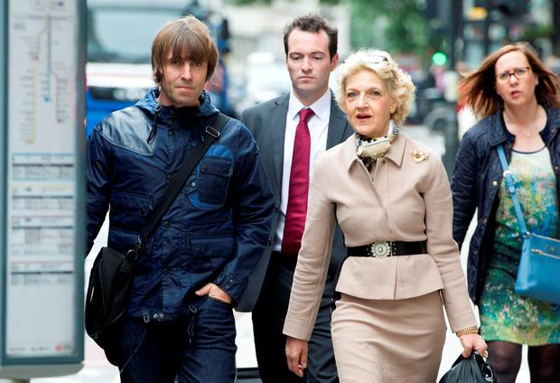 Singer Liam Gallagher arrives with his legal team, including Fiona Shackleton (second right) at the Central Family Court in London where he his embroiled in a family court dispute with ex-wife Nicole Appleton. Picture: Anthony Devlin/PA Wire