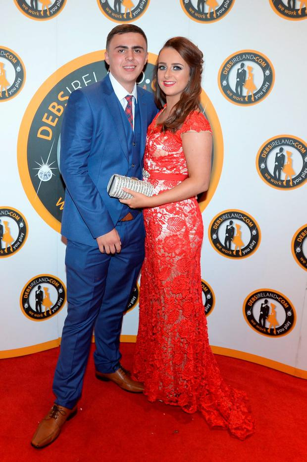 Warren Moore (18) and Megan Cash (18) wearing The Goddess at the New Cross College debs at the Dunboyne castle hotel
