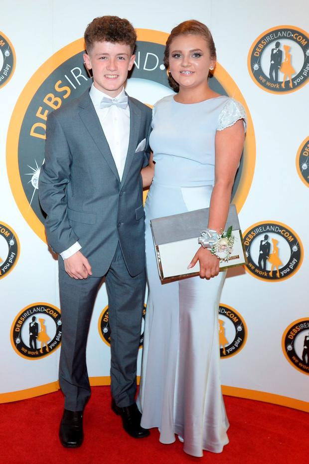 Ciara Keogan (18) wearing Coast and Craig Ward (16) at the New Cross College debs at the Dunboyne castle hotel