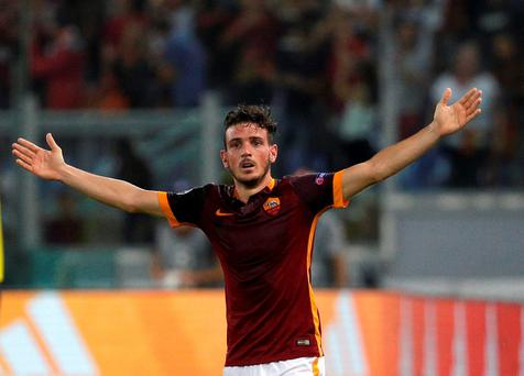 AS Roma's Alessandro Florenzi celebrates after scoring against Barcelona