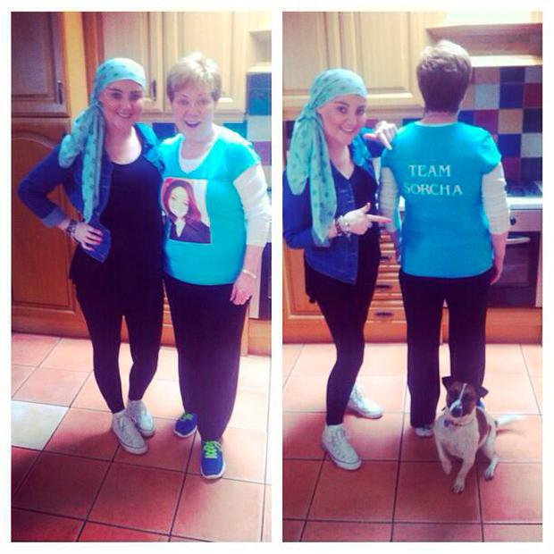 Sorcha pictured with her mum during her illness