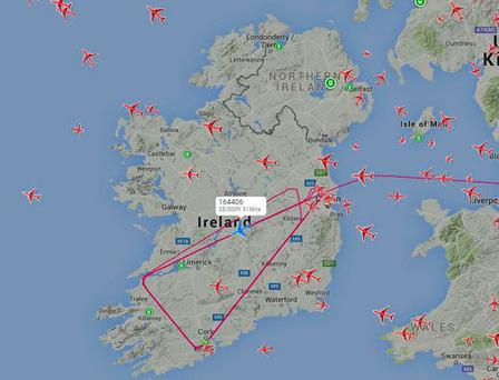 The aircraft made several trips across Ireland on Tuesday Credit: Plane Finder