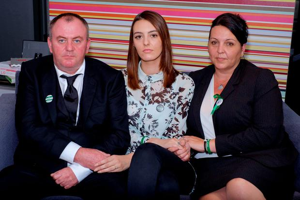 The family of Alan Cartwright, 15, (left-right) Alan Cartwright (father), Cherrie Ives (sister), and Michelle Cartwright (mother). Joshua Williams, 18, has been found guilty at the Old Bailey of stabbing the 15-year-old to death in an attempt to steal his bicycle Credit: Frantzesco Kangaris/PA Wire