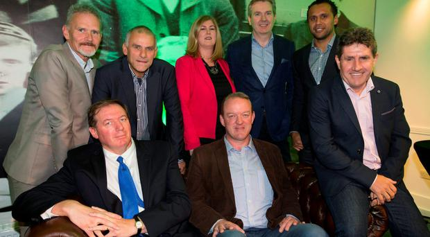 The Independent News and Media Rugby World Cup panel who launched INM's rugby package last night at Lansdowne Rugby Club are from left front row, Neil Francis, Mick Galwey and Paul Kimmage, (back row l-r) Vincent Hogan, Tony Ward, Karen Preston, Stephen Rae and Isa Nacewa Pic:Mark Condren 17.9.2015