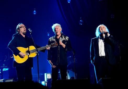 Crosby, Stills and Nash on stage earlier this year.