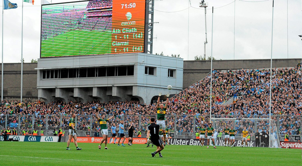 Dublin goalkeeper Stephen Cluxton kicks the winning point from a free in injury time of the 2011 All-Ireland