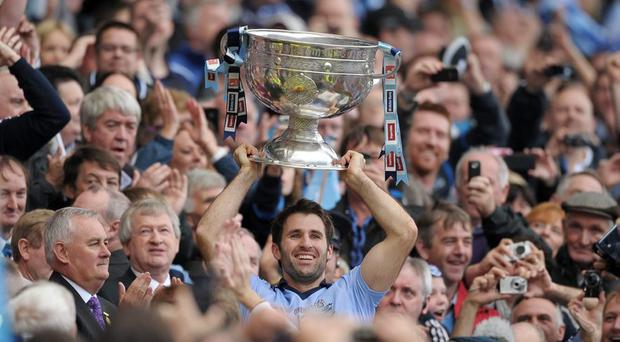 Dublin captain Bryan Cullen lifts the Sam Maguire in 2011. GAA Football All-Ireland Senior Championship Final, Kerry v Dublin, Croke Park, Dublin. Picture credit: Paul Mohan / SPORTSFILE