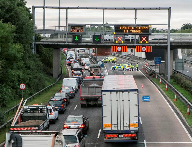 Traffic chaos at the M1 entrance to the Port Tunnel this morning after a truck caught fire in the tunnel (Photo: Kyran O'Brien)