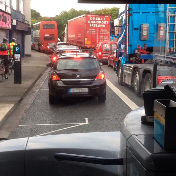 Traffic at a standstill in Dublin's Fairview area (Photo: Rachel Last)
