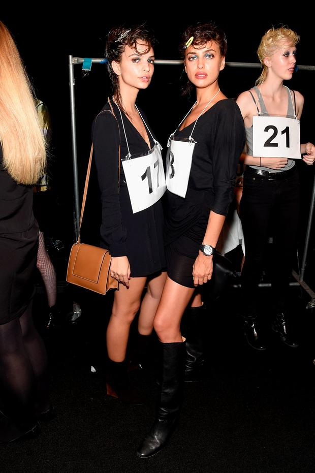 Models Emily Ratajkowski and Irina Shayk prepare backstage at the Marc Jacobs Spring 2016 fashion show during New York Fashion Week at Ziegfeld Theater on September 17, 2015 in New York City. (Photo by Jamie McCarthy/Getty Images for Marc Jacobs)
