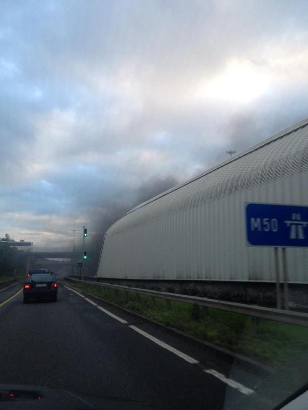 Smoke billows out of the Port Tunnel, Dublin. Photo: Mark Hughes