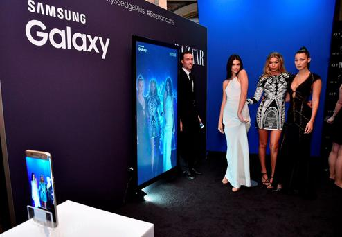 (L-R) Kendall Jenner, Gigi Hadid, and Bella Hadid stop by the Samsung Galaxy Selfie Station at the Harper's BAZAAR ICONS by Carine Roitfeld and Jean-Paul Goude Presented by Samsung Galaxy at The Plaza Hotel on September 16, 2015 in New York City. (Photo by Bryan Bedder/Getty Images for Samsung)