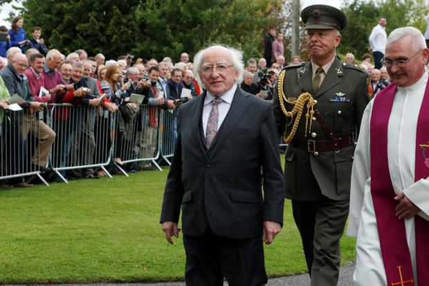 President Michael D.Higgins arriving for the funeral mass of Thomas Kent in St Nicholas Church Castlelyons, Co Cork Pic:Mark Condren
