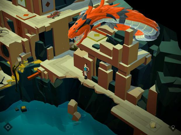 Lara Croft Go: The dragon levels add a real frisson of fear to the tricky puzzles