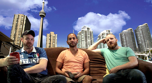 Composite Image: Thomas Breathnach with Tim & Nick, his Homestay.com hosts in Toronto.