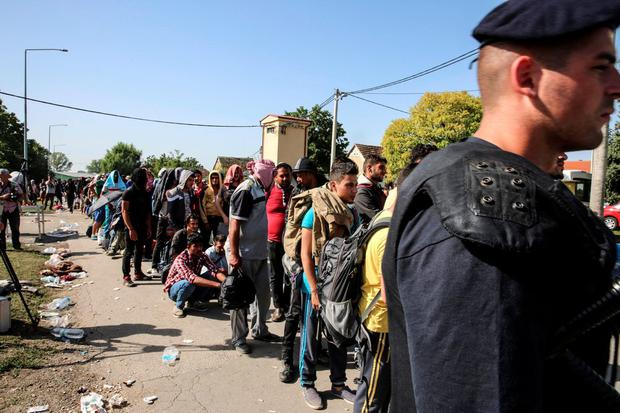 Refugees queue in the Croatian village of Tovarnik to receive medical attention from MSF staff Credit: MSF
