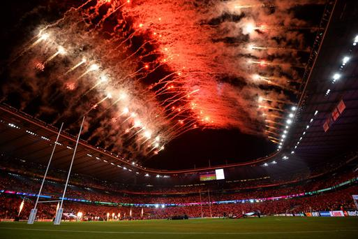 A fireworks show during the opening ceremony of the 2015 Rugby World Cup. AFP PHOTO/ GLYN KIRK.
