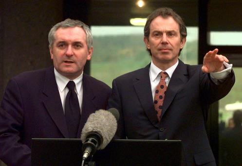 Then taoiseach Bertie Ahern and prime minister Tony Blair meet the media in 1998 after the bones of the Good Friday Agreement were laid out