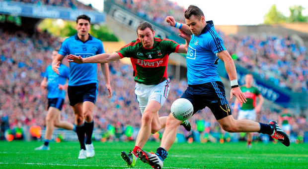 Kevin McManamon on the way to scoring Dublin's third goal in their 2015 All- Ireland SFC semi-final replay victory over Mayo