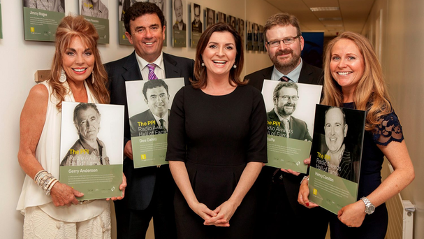 At the PPI Radio Awards were (l-r) Christine Anderson on behalf of Gerry; Des Cahill, RTE Radio 1; cermony host Colette Fitzpatrick; Pat Balfe, Today FM; and Becky Condon on behalf of Henry Condon, IBI. Photo: Iain White
