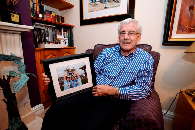 Former Dublin footballer Bernard Brogan Snr, with some of his sons Alan and Bernard's GAA mementos, in his home in Castlenock, Dublin