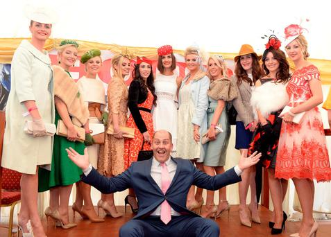 Judges Alison Canavan and Brian Purcell with the 10 finalists including the winner Brid Hayes from Ballyhahill, Co Limerick, (on extreme right) at Ladies Day at the Listowel Harvest Racing Festival yesterday Photo: Don MacMonagle