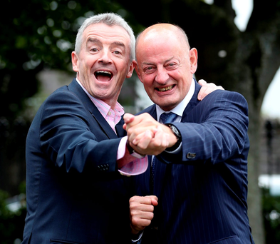 Ryanair's CEO Michael O'Leary pictured with Des Lamont, president of the Institute of Directors at its Autumn Lunch in DoubleTree Hotel in Dublin