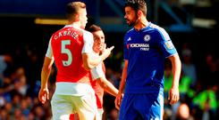 Gabriel of Arsenal and Diego Costa of Chelsea argue during the Barclays Premier League match between Chelsea and Arsenal at Stamford Bridge on September 19, 2015 in London, United Kingdom. (Photo by Ross Kinnaird/Getty Images)