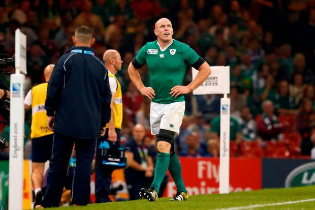 Paul O'Connell of Ireland is sent to the sin bin during the 2015 Rugby World Cup Pool D match between Ireland and Canada at the Millennium Stadium on September 19, 2015 in Cardiff, United Kingdom. (Photo by Stu Forster/Getty Images)