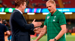 19 September 2015; Former Ireland centre Brian O'Driscoll in conversation with Ireland head coach Joe Schmidt ahead of the game. 2015 Rugby World Cup, Pool D, Ireland v Canada. Millennium Stadium, Cardiff, Wales. Picture credit: Stephen McCarthy / SPORTSFILE