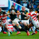 Victor Matfield of South Africa breaks the line during the 2015 Rugby World Cup Pool B match between South Africa and Japan