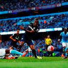 Diafra Sakho of West Ham United scores his team's second goal during the Barclays Premier League match between Manchester City and West Ham United at Etihad Stadium