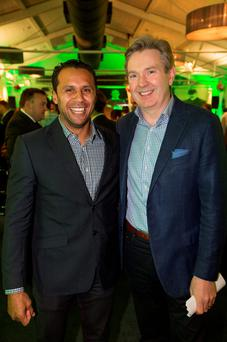 At the launch of INM's rugby coverage were rugby legend Isa Nacewa with INM editor in chief Stephen Rae