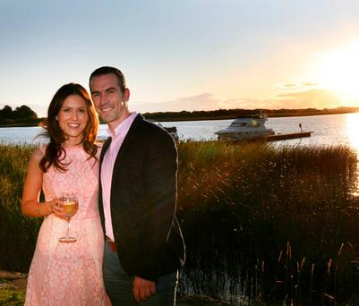 TO THE WATERS AND THE SMILES: Dessie Dolan and wife Kelly McAteer at the Wineport Lodge.