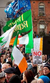 BATTLE LINES: Anti-water-charge demonstrators march in Dublin to protest at the jailing of Right to Water activists. Photo: Tony Gavin