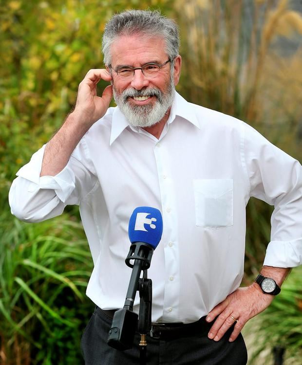 STRATEGY: Gerry Adams at the City North Hotel as Sinn Fein meets to plan the new political term. Photo: Steve Humphreys