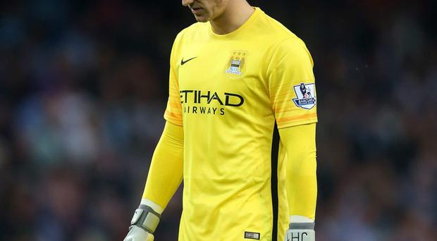 Manchester City's Joe Hart shows the pain