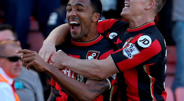 AFC Bournemouth's Callum Wilson celebrates scoring his side's first goal of the game with teammate Matt Ritchie