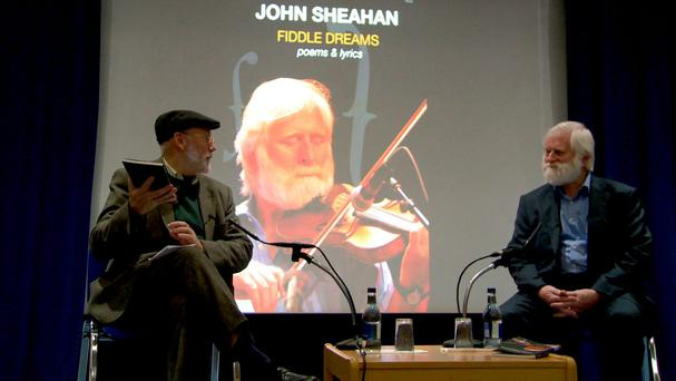 POET AND PLAYER: John Sheahan, right, on stage with writer Dermot Bolger.