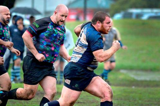 FULL STEAM: Pearse Egan (26), right, from Dun Laoghaire, who is starring in upcoming Australian documentary Scrum